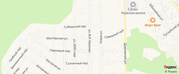 Улица В.И.Иванова на карте поселка Сагана-Нура с номерами домов