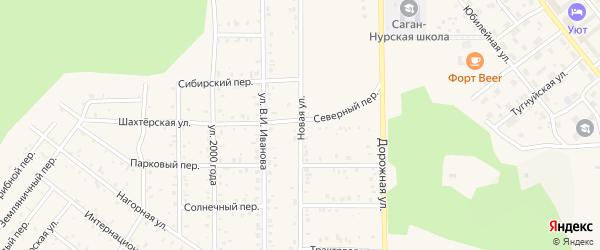 Новая улица на карте поселка Сагана-Нура с номерами домов