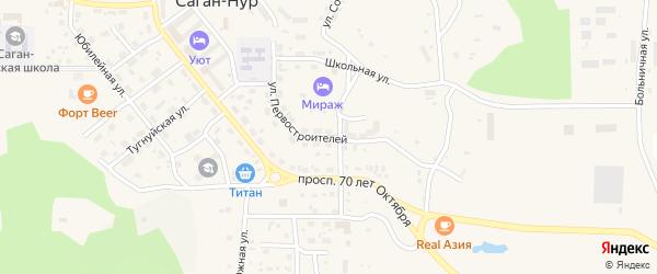 Улица Первостроителей на карте поселка Сагана-Нура с номерами домов