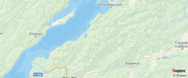 Карта Прибайкальского района республики Бурятия с городами и населенными пунктами