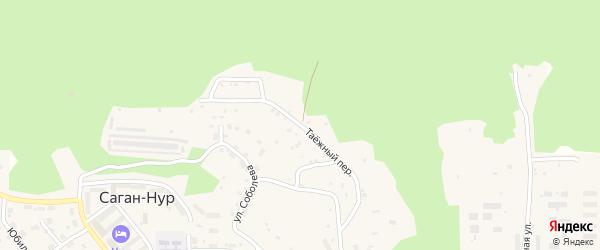 Таежный переулок на карте поселка Сагана-Нура с номерами домов