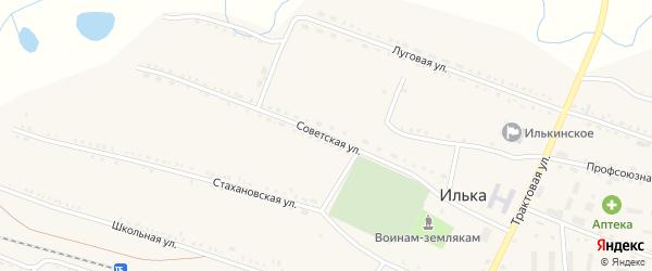 Советская улица на карте села Ильки с номерами домов