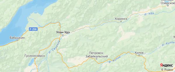 Карта Заиграевского района республики Бурятия с населенными пунктами и городами