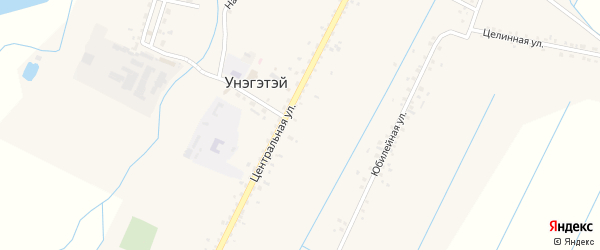 Центральная улица на карте села Унэгэтэй с номерами домов