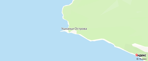 Карта поселка Ушканьи Острова в Бурятии с улицами и номерами домов