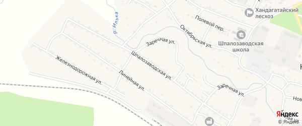Шпалозаводская улица на карте села Новоильинска с номерами домов