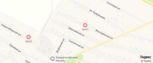 Юбилейная улица на карте села Новоильинска с номерами домов