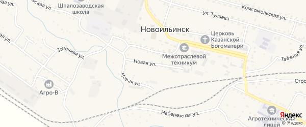 Новая улица на карте села Новоильинска с номерами домов