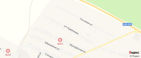 Улица Кудряшова на карте села Новоильинска с номерами домов