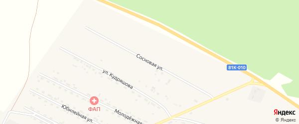 Сосновая улица на карте села Новоильинска с номерами домов