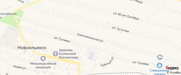 Комсомольская улица на карте села Новоильинска с номерами домов