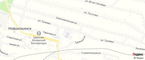 Улица Тулаева на карте села Новоильинска с номерами домов