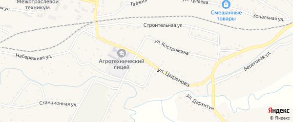 Улица Цыренова на карте села Новоильинска с номерами домов