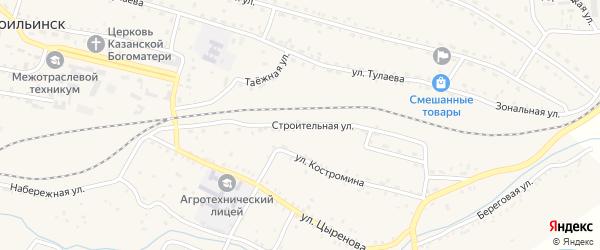 Строительная улица на карте села Новоильинска с номерами домов