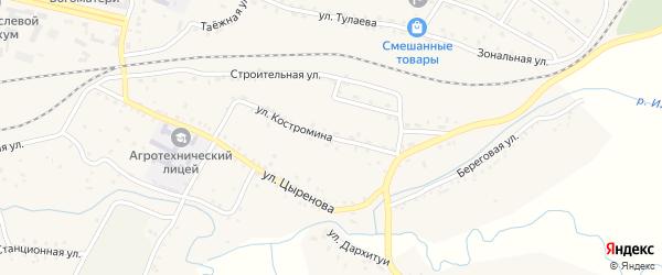 Улица Костромина на карте села Новоильинска с номерами домов
