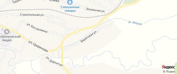 Береговая улица на карте села Новоильинска с номерами домов