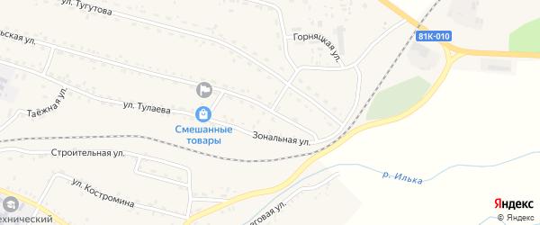 Зональная улица на карте села Новоильинска с номерами домов