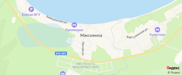 Карта села Максимихи в Бурятии с улицами и номерами домов