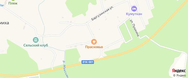 Школьная улица на карте села Максимихи с номерами домов