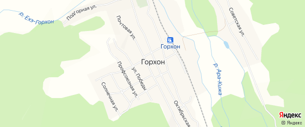 Карта поселка Горхона в Бурятии с улицами и номерами домов