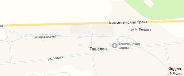 Дорожный переулок на карте села Ташелана с номерами домов