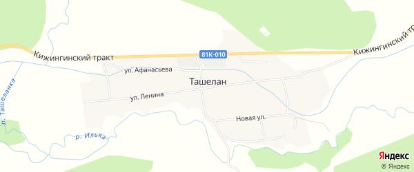 Карта села Ташелана в Бурятии с улицами и номерами домов
