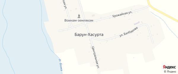 Улица Балбарова на карте улуса Барун-Хасурта с номерами домов