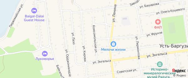 Комсомольская улица на карте поселка Усть-баргузина с номерами домов