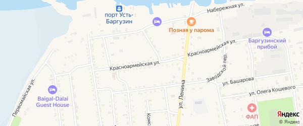 Красноармейская улица на карте поселка Усть-баргузина с номерами домов