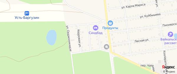 Песчаная улица на карте поселка Усть-баргузина с номерами домов
