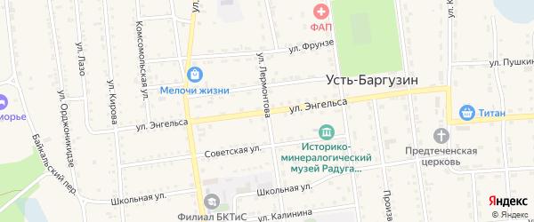 Улица Энгельса на карте поселка Усть-баргузина с номерами домов