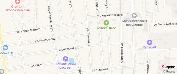 Улица Тюленина на карте поселка Усть-баргузина с номерами домов