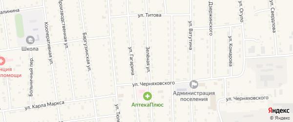 Зеленая улица на карте поселка Усть-баргузина с номерами домов