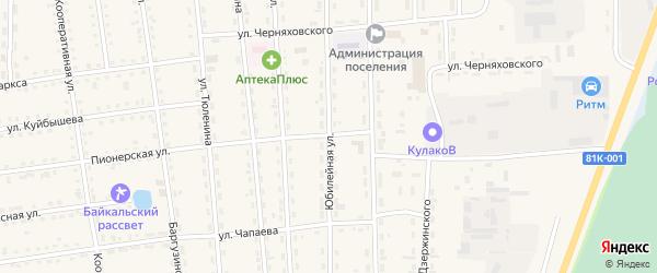 Юбилейная улица на карте поселка Усть-баргузина с номерами домов