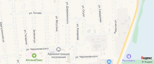 Улица Комарова на карте поселка Усть-баргузина с номерами домов