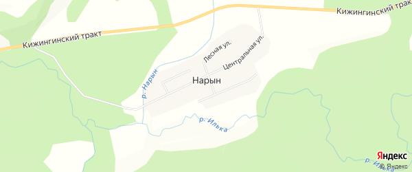 Карта улуса Нарына в Бурятии с улицами и номерами домов