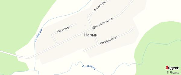 Центральная улица на карте улуса Нарына с номерами домов