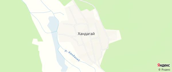 Карта поселка Хандагая в Бурятии с улицами и номерами домов