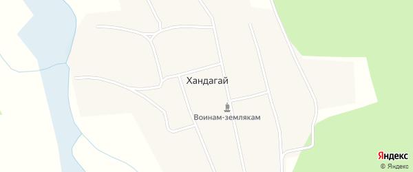 Центральная улица на карте поселка Хандагая с номерами домов