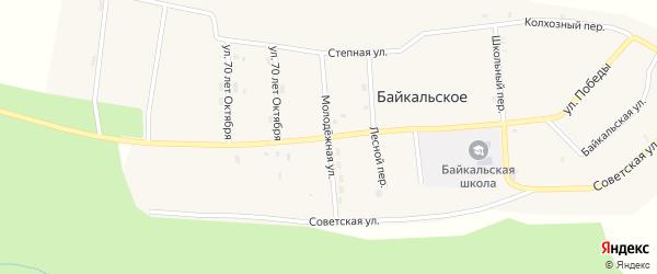 Молодежная улица на карте Байкальского села с номерами домов