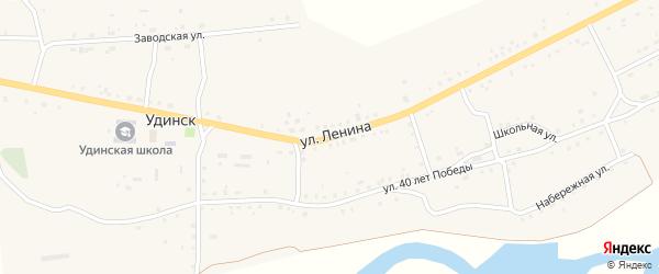 Улица Ленина на карте села Удинска с номерами домов