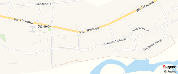 Улица Терешковой на карте села Удинска с номерами домов