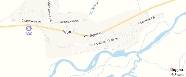 Местность Поднаран на карте села Удинска с номерами домов