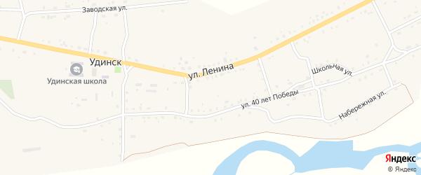 Улица 40 лет Победы на карте села Удинска с номерами домов