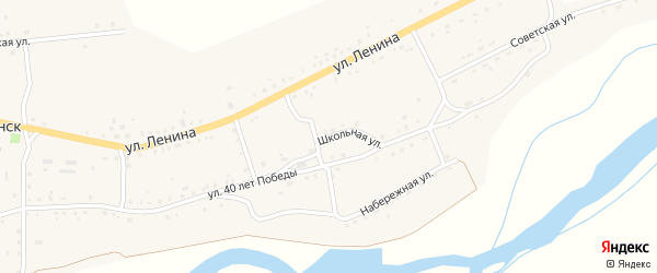 Школьная улица на карте села Удинска с номерами домов
