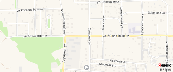 Улица 60 лет ВЛКСМ на карте Северобайкальска с номерами домов