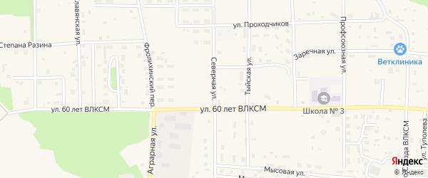 Северная улица на карте Северобайкальска с номерами домов