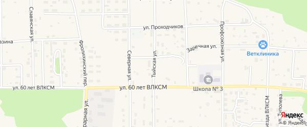 Тыйская улица на карте Северобайкальска с номерами домов