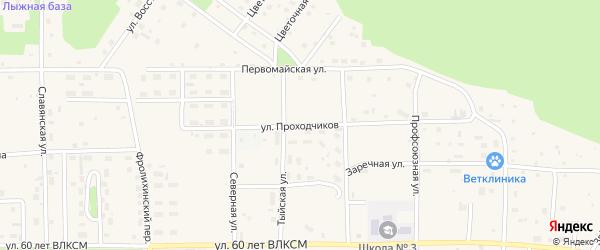 Улица Проходчиков на карте Северобайкальска с номерами домов