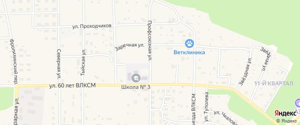 Профсоюзная улица на карте Северобайкальска с номерами домов